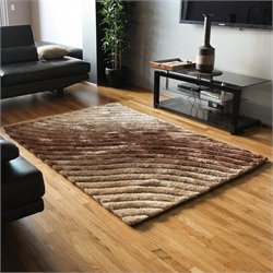 Blazing Needles Gradated Shag Rug in Beige and Brown