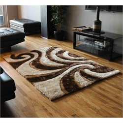 Blazing Needles Shag Rug in Beige and Brown