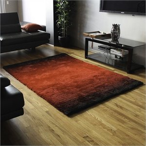 Blazing Needles Gradated Shag Rug in Red and Black