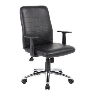 Retro Task Chair with Black T-Arms in Black