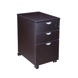 3 Drawer Mobile File Cabinet in Mocha