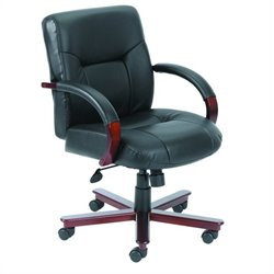 Boss Office Products Mid Back Executive Leather Office Chair