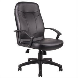 Boss Office Products Executive High Back Leather Office Chair in Black