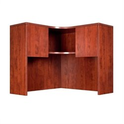 Boss Office Products Corner Hutch with Corner Desk Shell - Mahogany