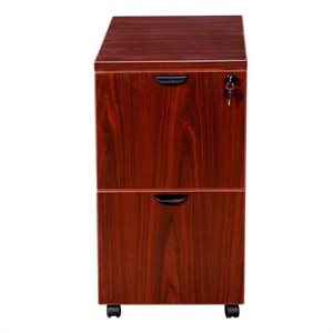 2 Drawer Mobile Wood File Cabinet in Mahogany