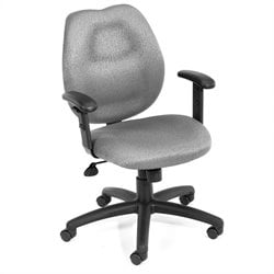 Boss Office Products Ratchet Back Molded Foam Task Chair with Adjustable Arms - Black