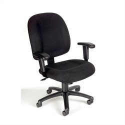 Boss Office Products Mid-Back Ergonomic Task Chair with Adjustable Arms - Black Fabric