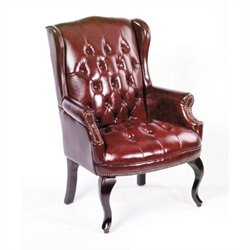 Boss Office Products Guest Office Leather Accent Chair in Red