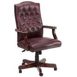 Boss Office Products Traditional Italian Leather Armchair - Burgundy Leather