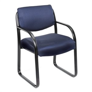 Fabric Sled Base Chair with Arms in Blue
