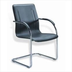 Boss Office Products Black and Silver Vinyl Guest Chair with Cantilever Base (Set of 4)