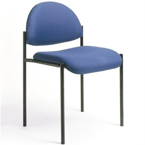 Contemporary Armless Fabric Stacking Chair in Blue
