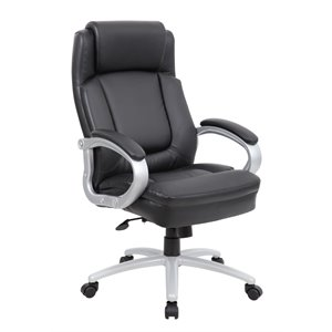 Boss Big and Tall Leather Plus Executive Chair in Black