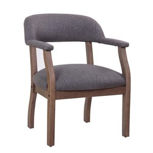 Boss Refined Rustic Accent Chair in Slate Gray Commercial Grade Linen