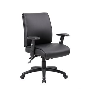 Boss Multi-Function Mid Back Executive Chair with Seat Slider in Black