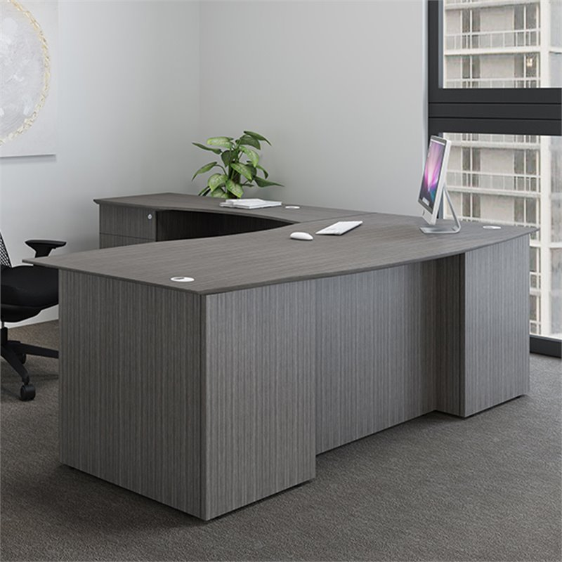 Boss Office Reclaim Executive Desk Shell in Driftwood