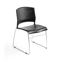 Boss Office Products Black Stacking Guest Chair with Chrome Frame