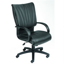 Boss Office Products High-Back Black Leather Plus Chair - Spring Tilt