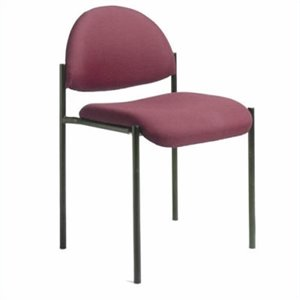 Armless Fabric Stacking Chair in Burgundy