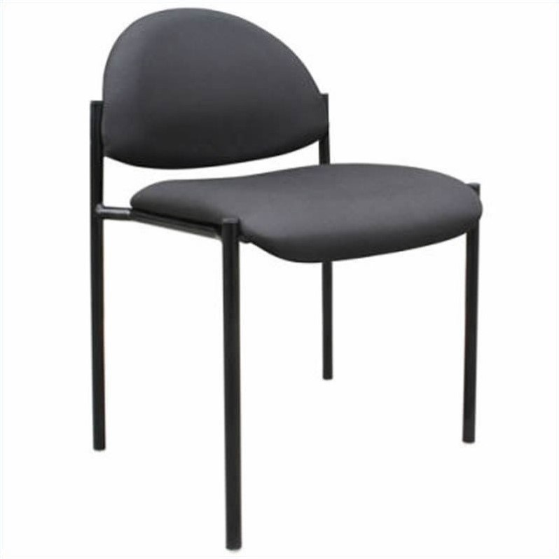 Contemporary Armless Fabric Stackable Chair in Black Caressoft