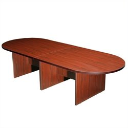 Boss Office Products Racetrack 10' Conference Table with Slab Base - Cherry
