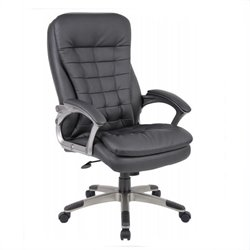 Boss Office Products Executive High Back Pillow Top Chair in Black