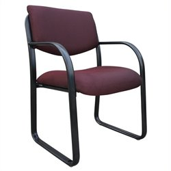 Fabric Sled Base Chair in Burgundy