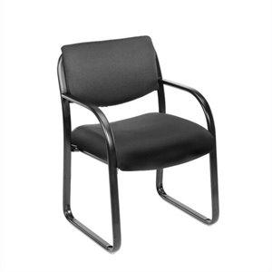 Fabric Sled Base Chair with Arms in Black