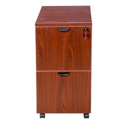 2 Drawer Mobile Wood File Cabinet in Cherry