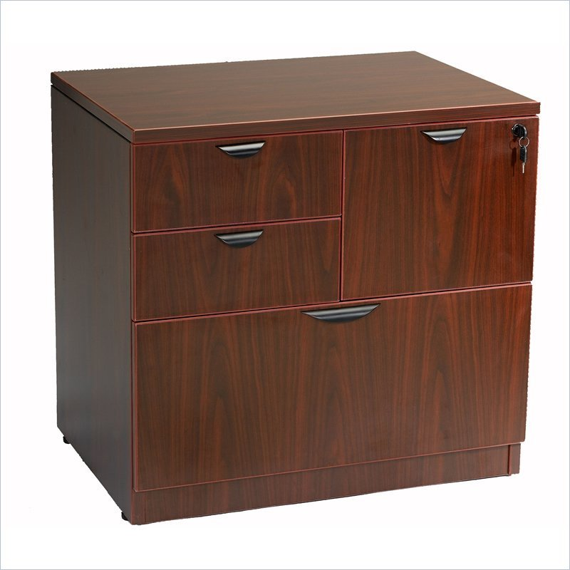 Boss Office Products Combo Lateral File in Mahogany