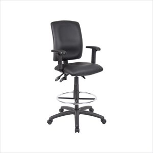 Boss Office Multi Function Leather Drafting Stool with Adjustable Arms