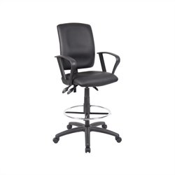 Boss Office Multi Function Leather Drafting Stool with Loop Arms