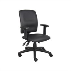 Boss Office Multi Function Leather Task Chair with Adjustable Arms in Black