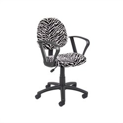 Boss Office Microfiber Deluxe Posture Chair with Loop Arms in Zebra Print