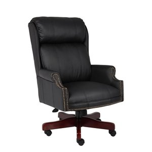 Traditional High Back Office Chair with Mahogany Base
