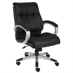 Boss Office Products Double Plush Mid Back Executive Chair in Black - Black
