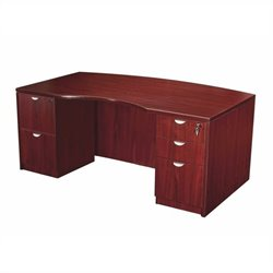 Boss Office Products Light Bow Front Desk Shell in Mahogany