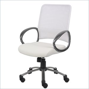 Boss Office Products White Mesh Back with Pewter Task Chair