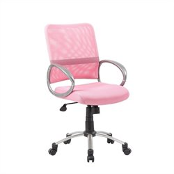 Boss Office Products Mesh Back with Pewter Task Chair in Pink