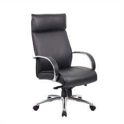Boss Office High Back Executive Aluminum Chair in Black with Knee Tilt