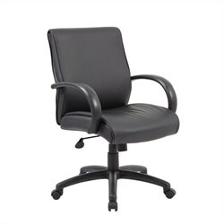 Boss Office Mid Back Executive Aluminum Office Chair in Black with Knee Tilt