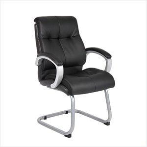 Boss Office Double Plush Executive Guest Chair in Black