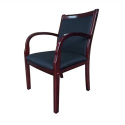 Boss Office Guest Arm Chair in Black and Rich Mahogany
