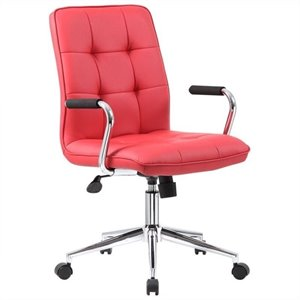 Boss Office Chair in Red with Chrome Arms