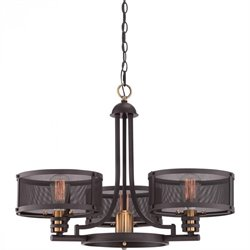 Quoizel Union Station Cage Chandelier with 4 Lights in Western Bronze