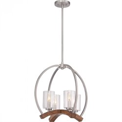 Quoizel Kayden Chandelier with 4 Lights in Brushed Nickel