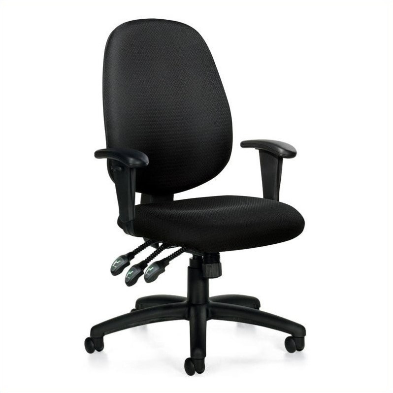 Offices to Go Multifunction Office Chair with Arms in Black