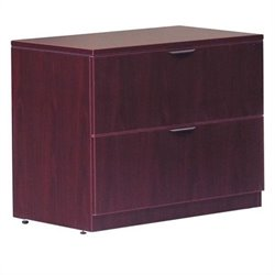 2 Drawer Lateral Wood File with Lock in Mahogany Finish