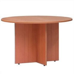 Offices to Go Round 4' Conference Table with X-Shaped Base - American Mahogany