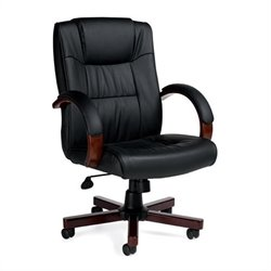 Offices To Go Luxhide Executive Chair with Wood Arms and Base